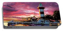 Portable Battery Charger featuring the painting Hilton Head Harbour Town Lighthouse by Christopher Arndt