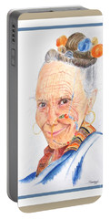Himalayan Smile Lines -- Portrait Of Old Asian Woman Portable Battery Charger