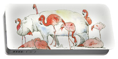 Hippo And Flamingos Portable Battery Charger