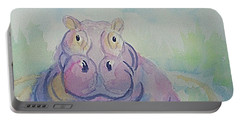 Portable Battery Charger featuring the painting Hippo  by Ellen Levinson