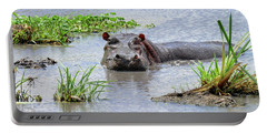 Hippo In The Serengeti Portable Battery Charger