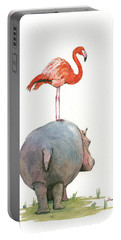 Hippo With Flamingo Portable Battery Charger
