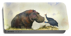 Hippo With Guinea Fowls Portable Battery Charger