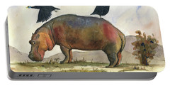 Hippo With Guineafowls Portable Battery Charger