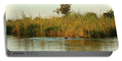Portable Battery Charger featuring the photograph Hippos, South Africa by Karen Zuk Rosenblatt