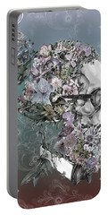 Hipster Floral Skull 2 Portable Battery Charger by Bekim Art