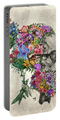 Hipster Floral Skull Portable Battery Charger by Bekim Art