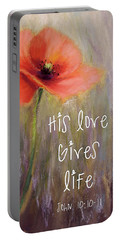 His Love Gives Life Portable Battery Charger