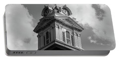 Portable Battery Charger featuring the photograph Historic Courthouse Steeple In Bw by Doug Camara
