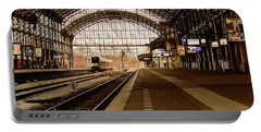 Historic Railway Station In Haarlem The Netherland Portable Battery Charger by Yvon van der Wijk