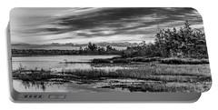 Historic Whitebog Landscape Black - White Portable Battery Charger