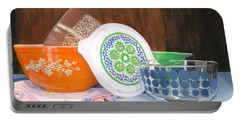 Portable Battery Charger featuring the painting History Of Pyrex by Lynne Reichhart