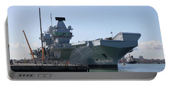 Hms Queen Elizabeth Aircraft Carrier At Portmouth Harbour Portable Battery Charger