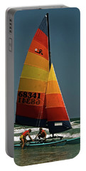 Hobie Cat In Surf Portable Battery Charger by Sally Weigand