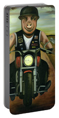 Hog Wild Portable Battery Charger by Leah Saulnier The Painting Maniac