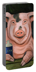 Hogging The Moonshine Portable Battery Charger by Leah Saulnier The Painting Maniac