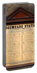 Portable Battery Charger featuring the photograph Hogsmeade Station Timetable by Juergen Weiss