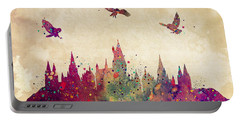 Hogwarts Castle Watercolor Art Print Portable Battery Charger