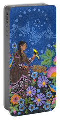 Portable Battery Charger featuring the painting Hole In The Sky's Daughter by Chholing Taha