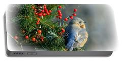 Holiday Blue Bird Portable Battery Charger by Barbara S Nickerson