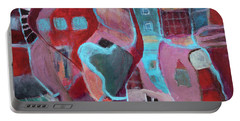 Portable Battery Charger featuring the painting Holiday Windows by Susan Stone