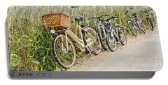 Holland - Bicycles Parked Along The Fence Portable Battery Charger