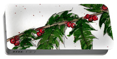 Portable Battery Charger featuring the painting Holly Holiday Greetings by Rebecca Davis