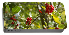 Holly With Berries Portable Battery Charger by Chevy Fleet