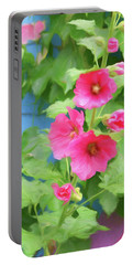 Portable Battery Charger featuring the photograph Hollyhocks - 1 by Nikolyn McDonald