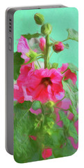 Portable Battery Charger featuring the photograph Hollyhocks - 2  by Nikolyn McDonald