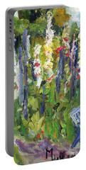 Hollyhocks, After Morisot Portable Battery Charger