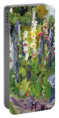 Hollyhocks, After Morisot Portable Battery Charger by Michael Helfen