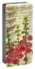 Portable Battery Charger featuring the drawing Hollyhocks And Butterflies  by Cathie Richardson