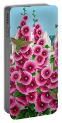 Hollyhocks And Humming Birds Portable Battery Charger