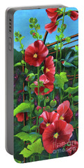 Hollyhocks And Hummingbird Portable Battery Charger