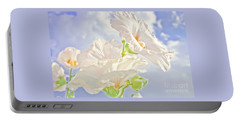 Hollyhocks And Sky Portable Battery Charger
