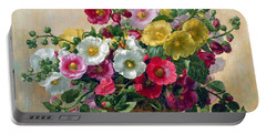 Hollyhocks In A Basket Portable Battery Charger