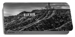 Hollywood Sign - Black And White Portable Battery Charger