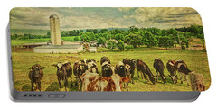 Portable Battery Charger featuring the photograph Holy Cows by Lewis Mann