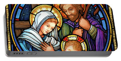 Portable Battery Charger featuring the digital art Holy Family Stained Glass by Randy Wollenmann