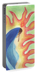 Portable Battery Charger featuring the drawing Holy Mary by Betsy Hackett