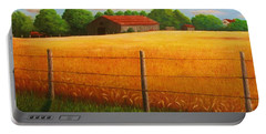 Portable Battery Charger featuring the painting Home On The Farm by Gene Gregory