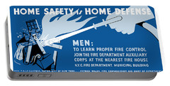 Portable Battery Charger featuring the painting Home Safety Is Home Defense by War Is Hell Store