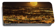 Home Sweet Hometown Bathed In The Glow Of The Super Moon  Portable Battery Charger