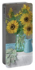 Homegrown - Sunflowers In A Mason Jar With Gardening Gloves And Blue Cream Pitcher Portable Battery Charger