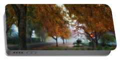 Hometown Fall Morning Portable Battery Charger by Lynn Hopwood