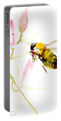 Honey Bee And Pink Flower Portable Battery Charger by Suren Nersisyan