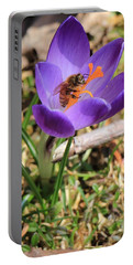 Honey Bee On Crocus  Portable Battery Charger
