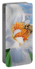 Honey Bee On White Flower Portable Battery Charger
