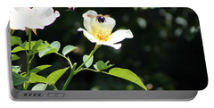 Honey Bees In Flight Over White Rose Portable Battery Charger